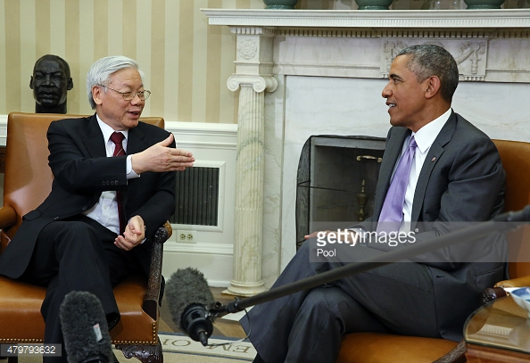 President Barack Obama meets in the Oval Office of the White House with General Secretary Nguyen Phu Trong of Vietnam, in Washington, Tuesday, July 7, 2015.